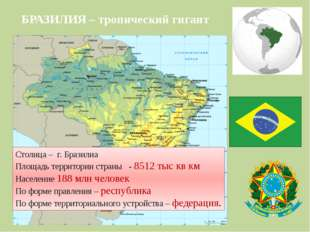 БРАЗИЛИЯ – тропический гигант Столица – г. Бразилиа Площадь территории страны