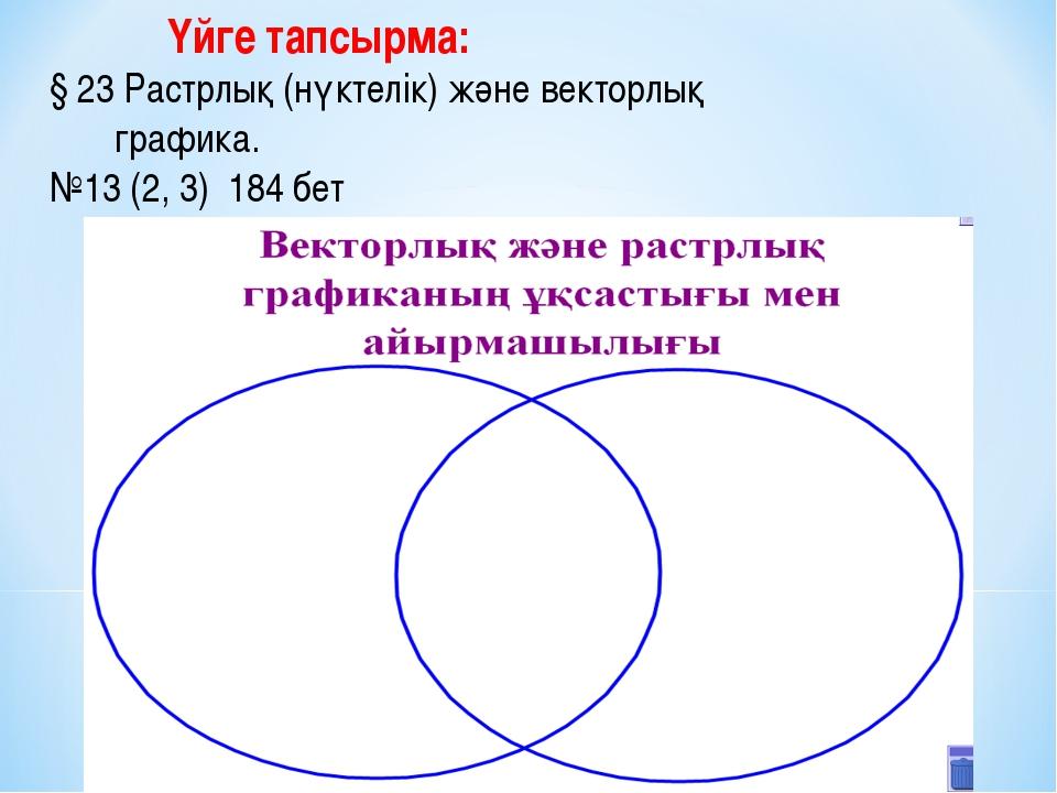Үйге тапсырма: § 23 Растрлық (нүктелік) және векторлық графика. №13 (2, 3) 1...