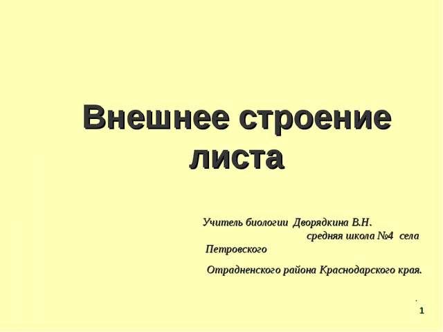 Внешнее строение листа Учитель биологии Дворядкина В.Н.   средняя школа №4...