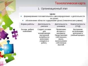 Технологическая карта Организационный этап Цели: формирование положительногос