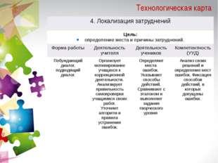 Технологическая карта 4. Локализация затруднений Цель: определениеместа и при
