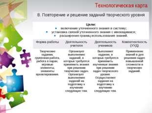 Технологическая карта 8. Повторение и решение заданий творческого уровня Цели