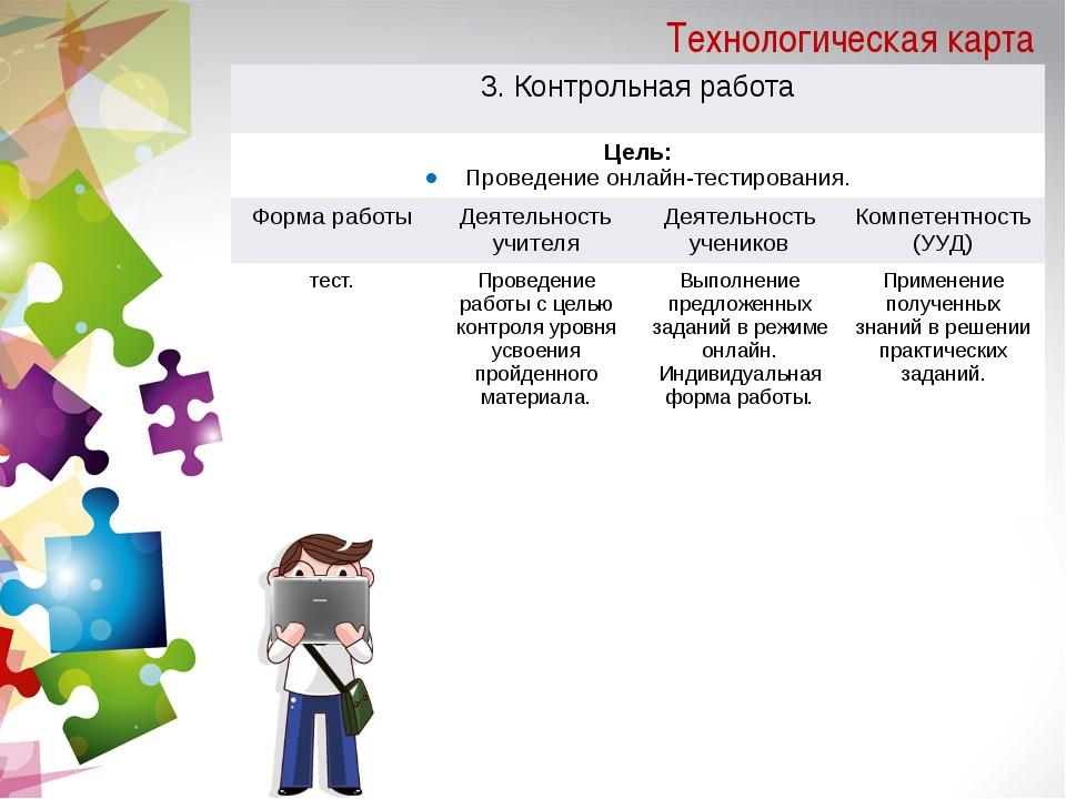 Технологическая карта 3. Контрольная работа Цель: Проведениеонлайн-тестирован...
