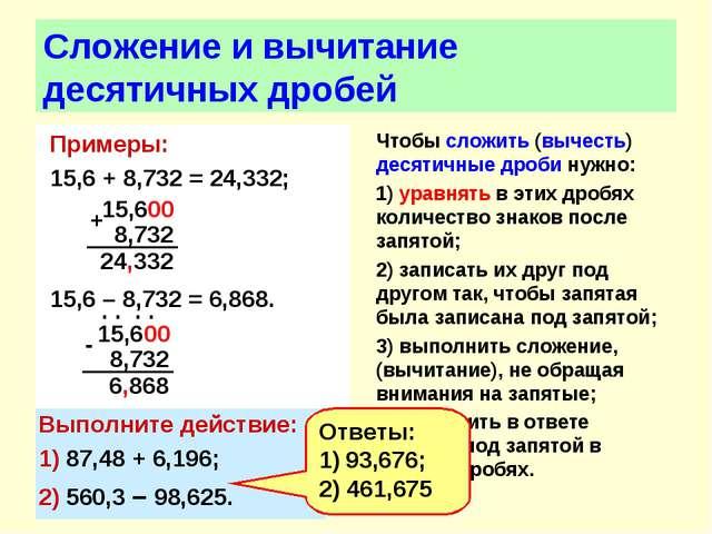 Сложение и вычитание десятичных дробей Примеры: 15,6 + 8,732 = 24,332; 15,6 –...