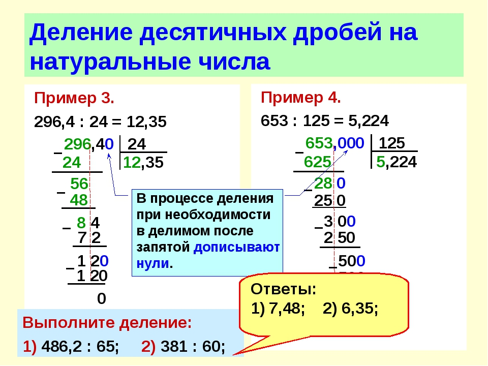 Пример 3. 296,4 : 24 = 12,35 Деление десятичных дробей на натуральные числа П...