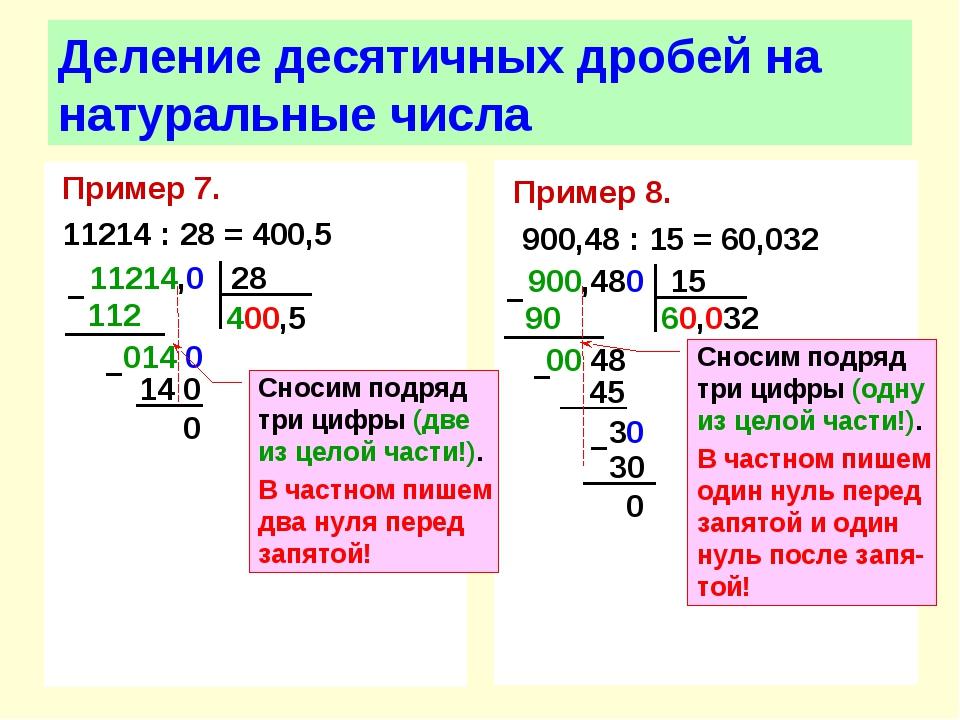 Пример 7. 11214 : 28 = 400,5 Деление десятичных дробей на натуральные числа П...