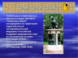 """Памятники собаке. Наибольшую известность в России и в мире приобрел """"Памятник"""