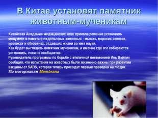 В Китае установят памятник животным-мученикам Китайская Академия медицинских