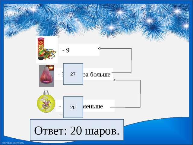 - 9 - ?, в 3 раза больше - ?, на 7 меньше 27 20 Ответ: 20 шаров. FokinaLida....
