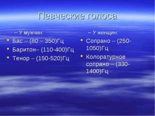 Певческие голоса У мужчин: Бас – (80 – 350)Гц Баритон– (110-400)Гц Тенор – (1