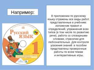 В приложении по русскому языку отражены все виды работ, представленные в учеб