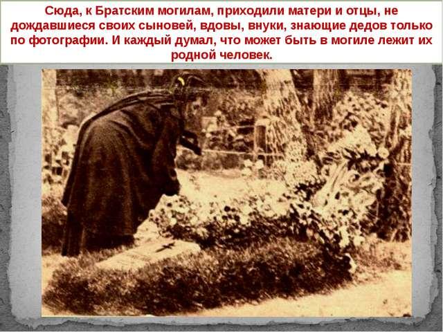 Сюда, к Братским могилам, приходили матери и отцы, не дождавшиеся своих сыно...