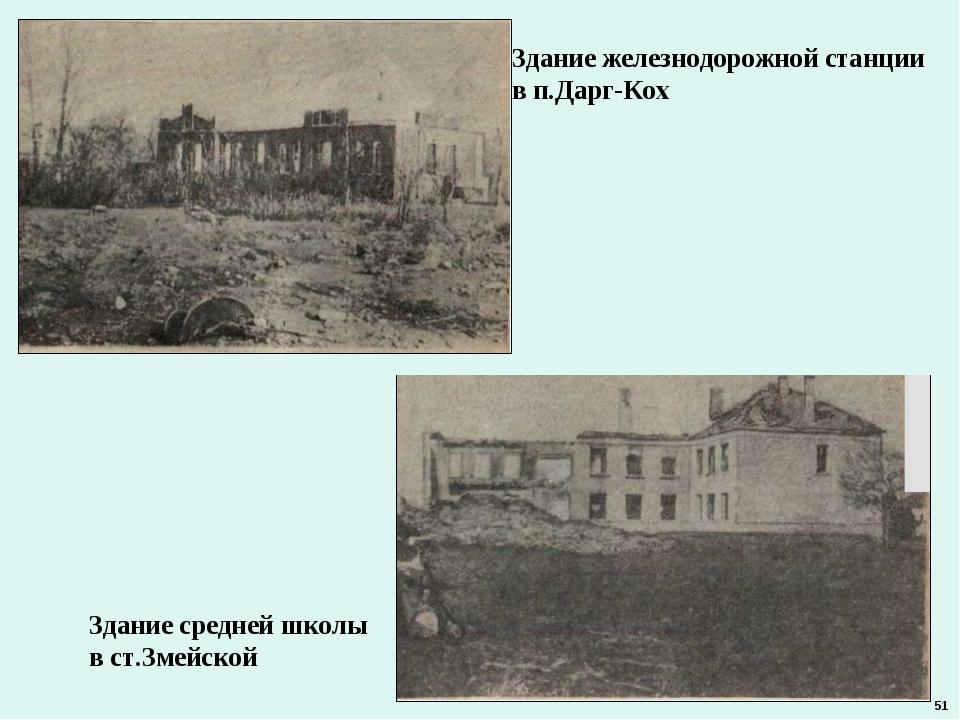 Здание железнодорожной станции в п.Дарг-Кох Здание средней школы в ст.Змейско...