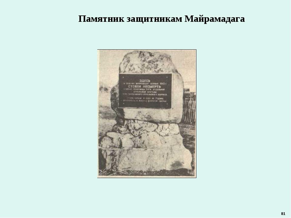 Памятник защитникам Майрамадага 81
