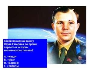 Какой позывной был у Юрия Гагарина во время первого в истории космического по