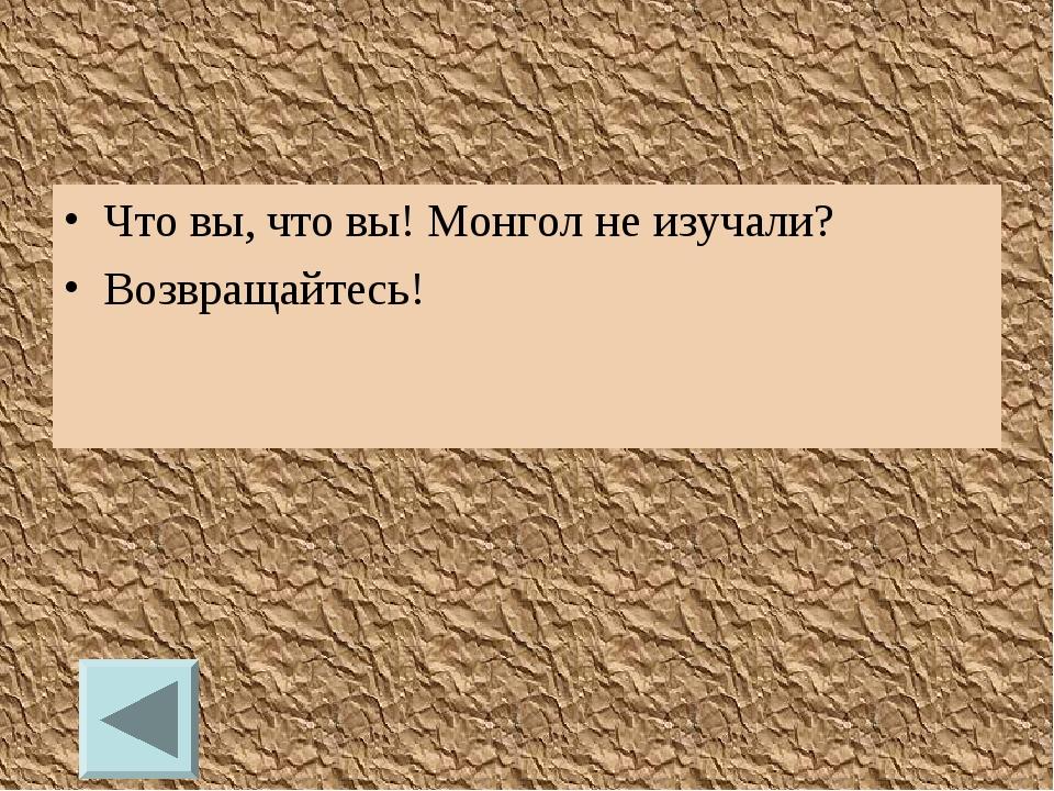 Что вы, что вы! Монгол не изучали? Возвращайтесь!