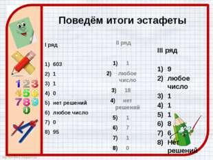 Поведём итоги эстафеты I ряд 603 1 1 0 нет решений любое число 0 95 II ряд 1