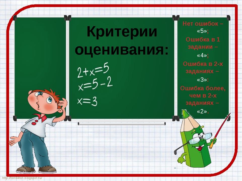 Критерии оценивания: Нет ошибок – «5»; Ошибка в 1 задании – «4»; Ошибка в 2-х...