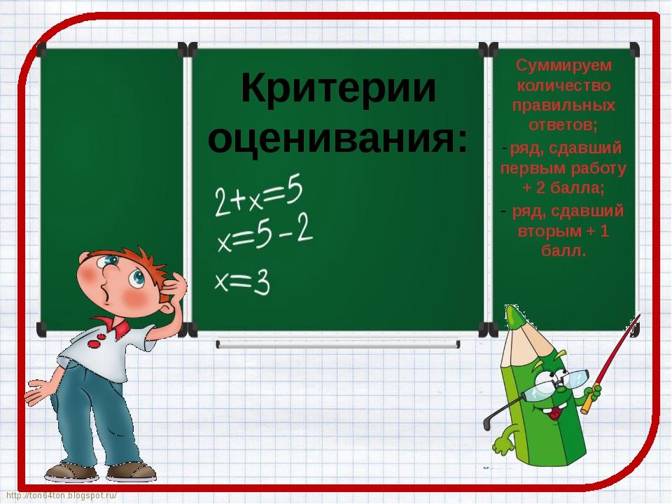 Критерии оценивания: Суммируем количество правильных ответов; ряд, сдавший пе...