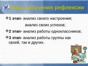 1 этап- анализ своего настроения; анализ своих успехов; 2 этап- анализ работ