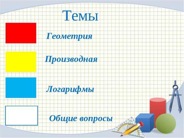 Темы Геометрия Производная Логарифмы Общие вопросы