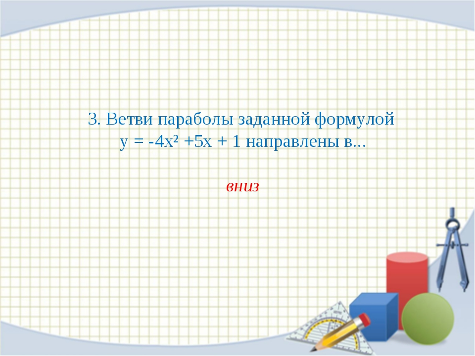 3. Ветви параболы заданной формулой у = -4х² +5х + 1 направлены в... вниз