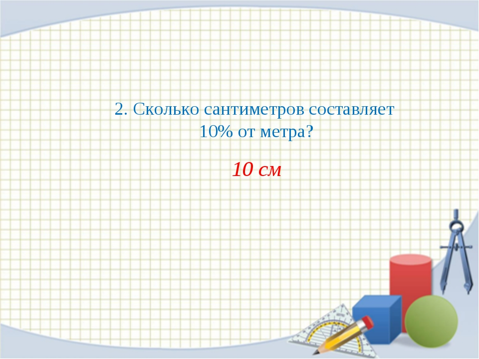 2. Сколько сантиметров составляет 10% от метра? 10 см