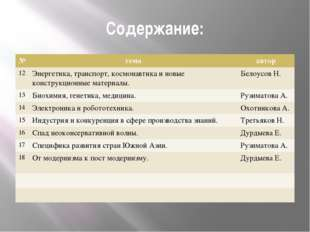 Содержание: № тема автор 12 Энергетика,транспорт, космонавтика иновыеконструк