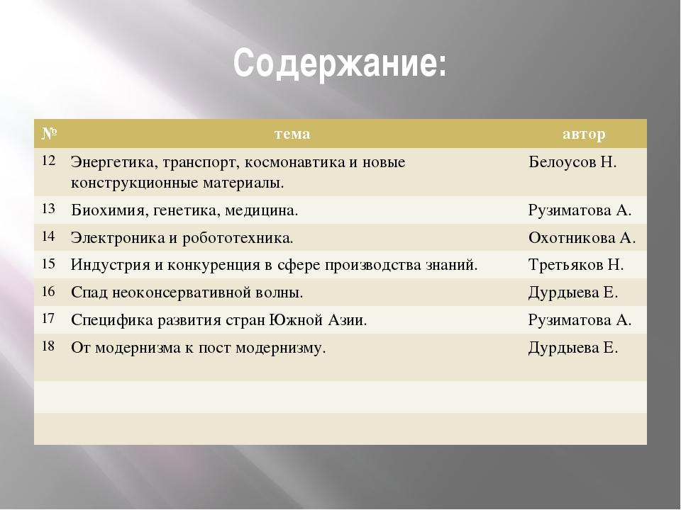 Содержание: № тема автор 12 Энергетика,транспорт, космонавтика иновыеконструк...