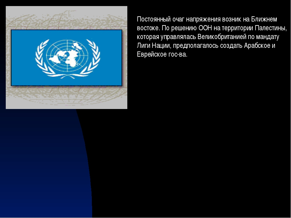Постоянный очаг напряжения возник на Ближнем востоке. По решению ООН на терри...
