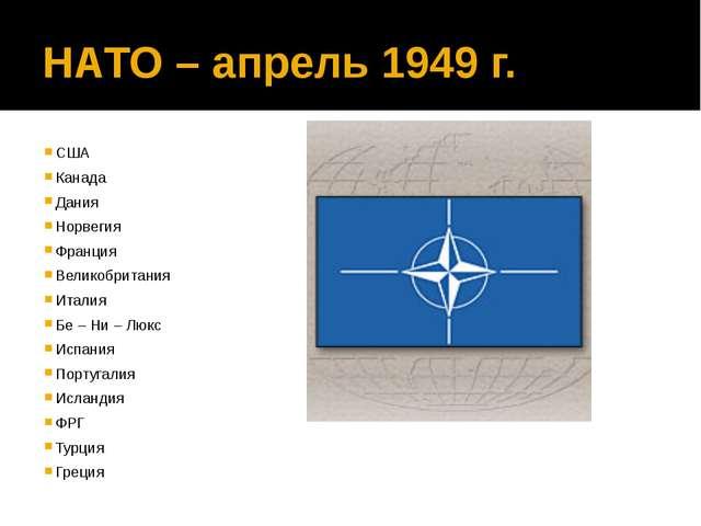 НАТО – апрель 1949 г. США Канада Дания Норвегия Франция Великобритания Италия...