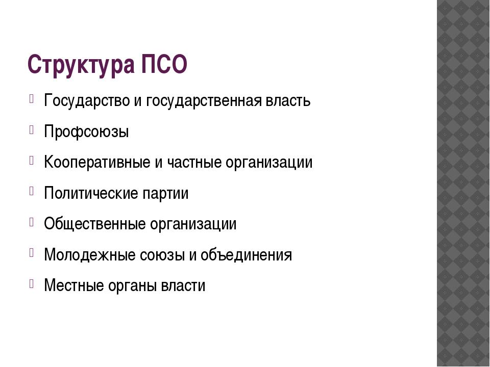 Структура ПСО Государство и государственная власть Профсоюзы Кооперативные и...