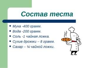 Состав теста Мука -400 грамм. Вода -200 грамм. Соль -1 чайная ложка. Сухие др