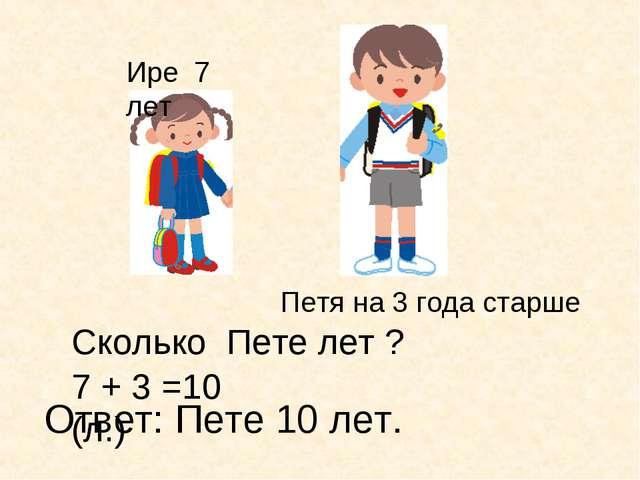 Ире 7 лет Петя на 3 года старше 7 + 3 =10 (л.) Ответ: Пете 10 лет. Сколько Пе...