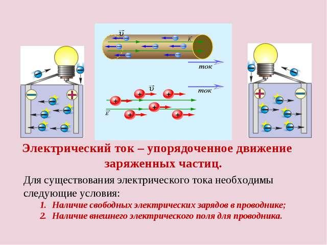 Электрический ток – упорядоченное движение заряженных частиц. Для существован...