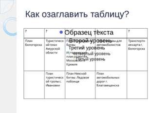 Как озаглавить таблицу?