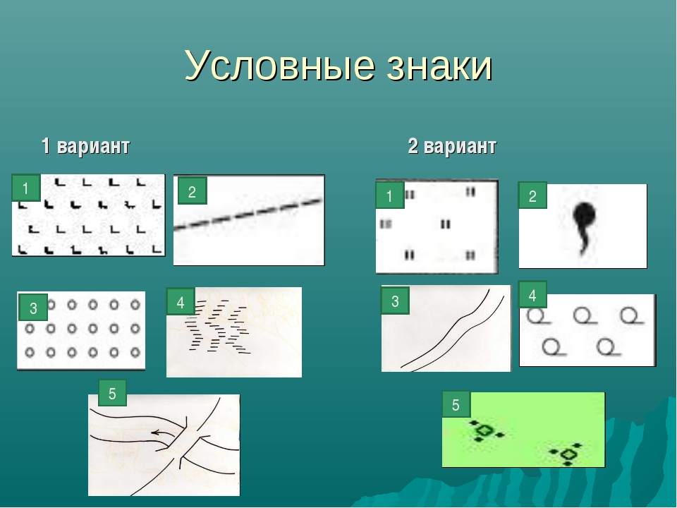 Условные знаки 1 вариант 2 вариант 1 5 4 3 2 1 2 3 4 5