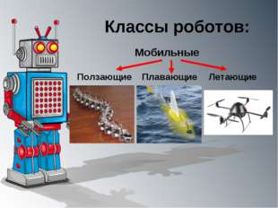 Классы роботов: Мобильные Ползающие Плавающие Летающие