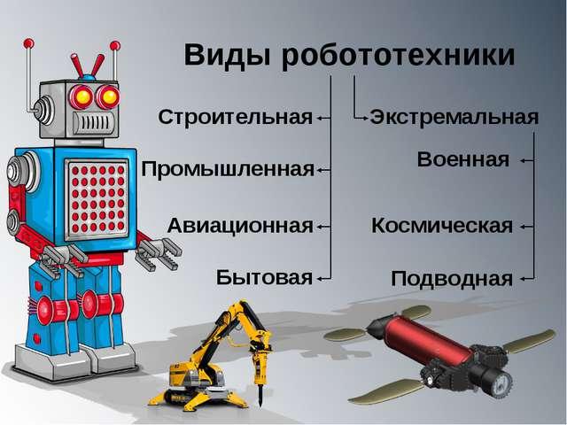 Виды робототехники Строительная Промышленная Бытовая Авиационная Экстремальна...