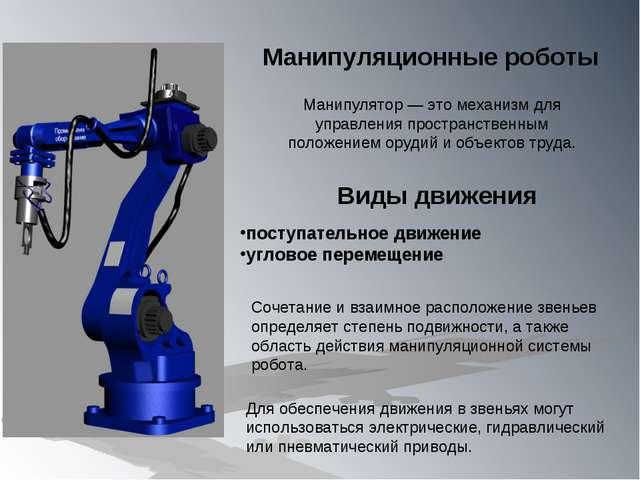 Манипулятор — это механизм для управления пространственным положением орудий...