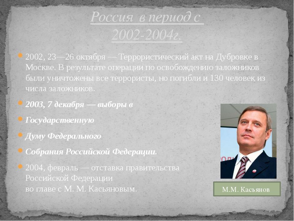 2002, 23—26 октября — Террористический акт на Дубровке в Москве. В результате...