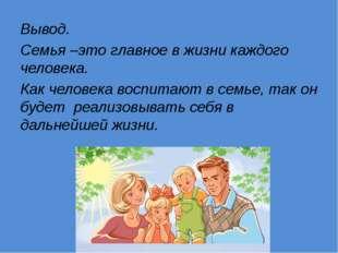 Вывод. Семья –это главное в жизни каждого человека. Как человека воспитают в