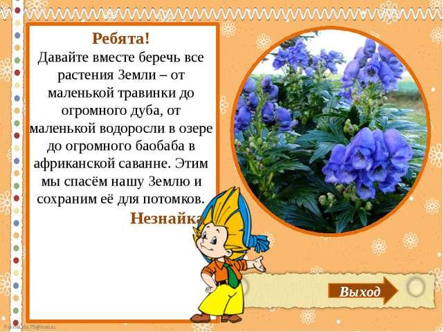 Выход Ребята! Давайте вместе беречь все растения Земли – от маленькой травин...