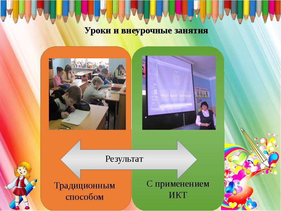 Уроки и внеурочные занятия Традиционным способом С применением ИКТ Результат