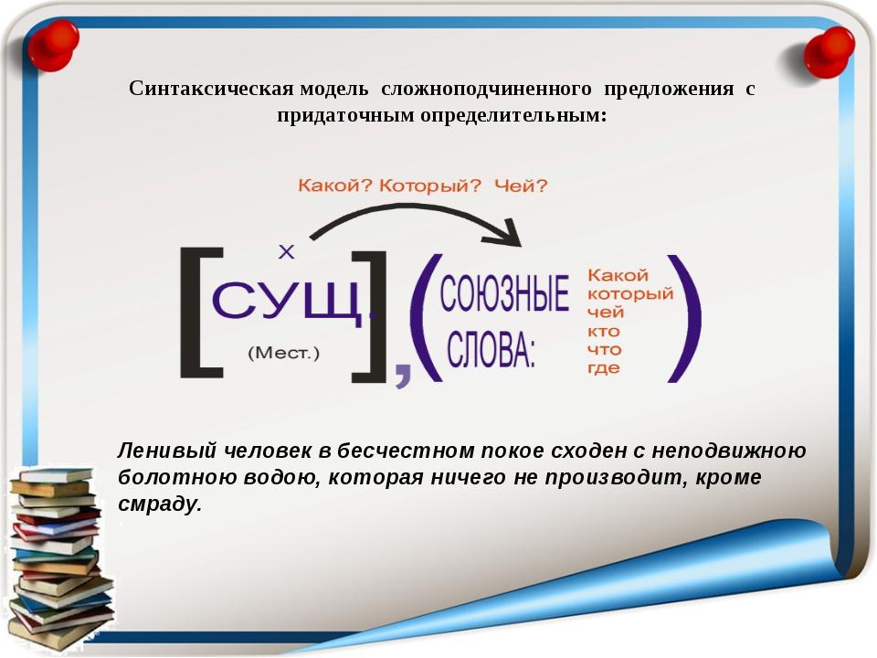Синтаксическая модель сложноподчиненного предложения с придаточным определите...