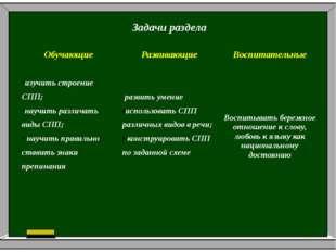 Задачи раздела Обучающие Развивающие Воспитательные изучить строение СПП; нау