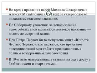 Во время правления царей Михаила Федоровича и Алексея Михайловича (XVI век)