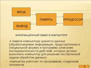 в памяти компьютера хранятся данные (обрабатываемая информация, представленн