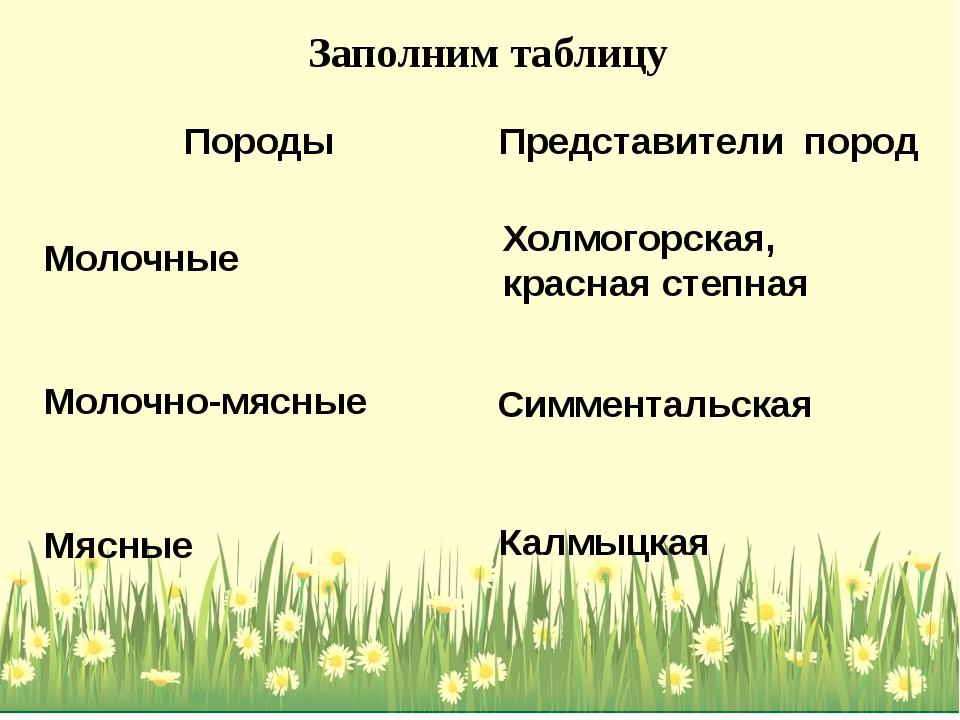 Холмогорская, красная степная Калмыцкая Симментальская Заполним таблицу Пород...