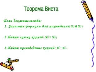 План доказательства: 1. Записать формулы для нахождения x₁и x₂; 2.Найти сумм